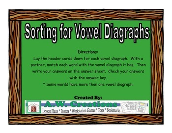 Sorting for Vowel Diagraphs Workstation Game or Small Group Activity