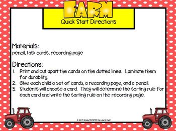 Sorting on the Farm:  LOW PREP Farm Themed Sorting Rule Task Cards