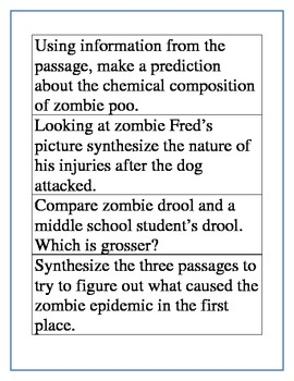 Sorting with Undead:  Focusing on question types with middle school readers