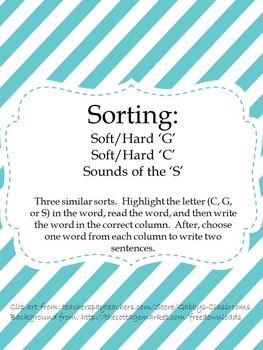 Sorts: Soft/Hard C, Soft/Hard G, and Sounds of the S