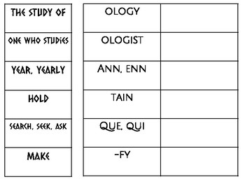 Sorts for Weekly Root Word Study