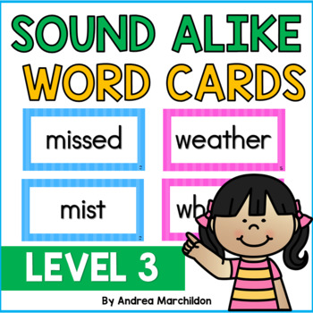 Sound Alike (Homophone) Word Cards Level 3