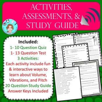 Sound Bundle- Vibrations, Pitch, and Volume – Upper Elementary – No Prep