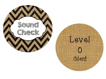 Sound Check Classroom Voice Modulation Visuals Burlap Chevron Bulletin Board
