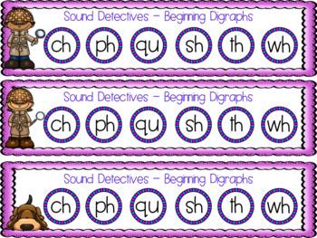 Sound Detectives Phonics Game - Short Vowel, Beginning & Ending Digraphs