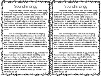 Sound Energy Reading Comprehension Interactive Notebook Tpt