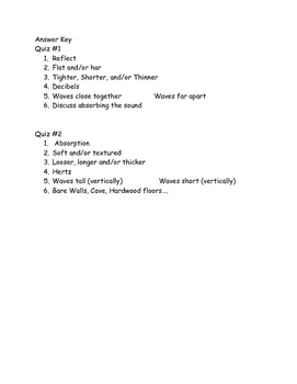 Sound Energy - Two Quizzes on reflection/absorption pitch/volume
