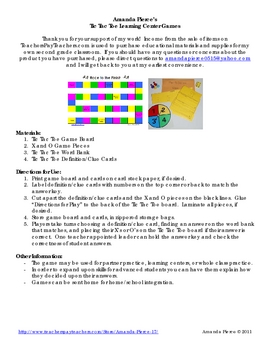 Sound Energy Unit Vocabulary Tic Tac Toe Learning Center Game
