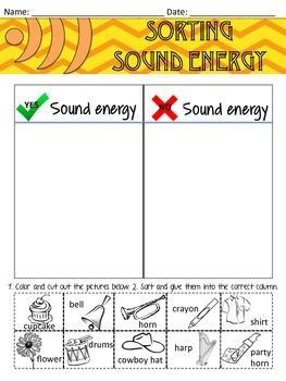 Sound Energy Worksheet Sorting
