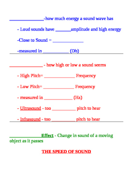Sound Fill in Notes & Key - Speed, Elasticity, Density, Loudness, Pitch, Doppler