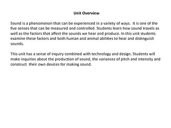 Sound - Grade 4 Science Unit