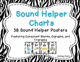 Sound Helper Charts-38 Consonant Blends, Digraphs, & Trigraphs Posters - Zebra