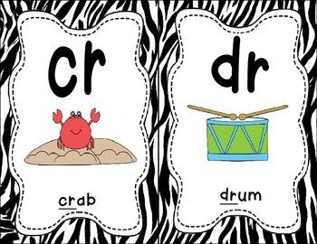 Sound Helper Charts-38 Consonant Blends, Digraphs, & Trigraphs Posters - Zebra