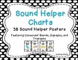 Sound Helper Charts- Consonant Blends, Digraphs, & Trigraphs - Black Polka Dots