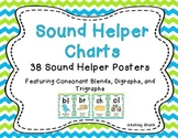 Sound Helper Charts- Consonant Blends, Digraphs & Trigraphs - Blue Green Chevron