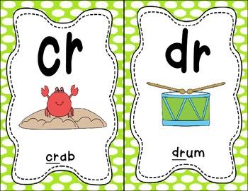 Sound Helper Charts- Consonant Blends, Digraphs, & Trigraphs - Green Polka Dots