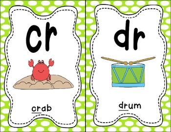 Sound Helper Charts- Consonant Blends, Digraphs, & Trigraphs - Green Polka Dots