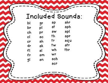 Sound Helper Charts- Consonant Blends, Digraphs, & Trigraphs - Red Chevron