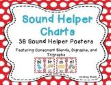 Sound Helper Charts- Consonant Blends, Digraphs, & Trigraphs - Red Polka Dots