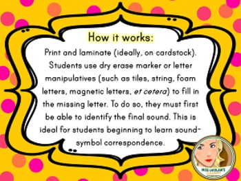 Sound-Letter Correspondence - Final Letter - Word Work Center