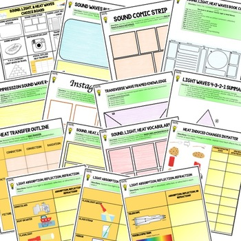Sound, Light, & Heat Waves Activities, Choice Board, Print & Digital, Google