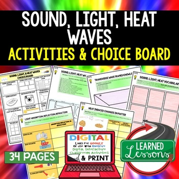 Sound, Light, & Heat Waves Choice Board Activities with Go