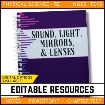 Sound, Light, Mirrors & Lenses: PS Notes, PowerPoint & Test ~ EDITABLE