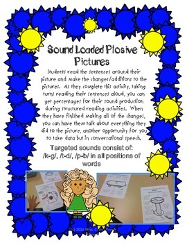 Sound Loaded Pictures for Articulation {6 Plosive Sounds}  ~FUN~SILLY~