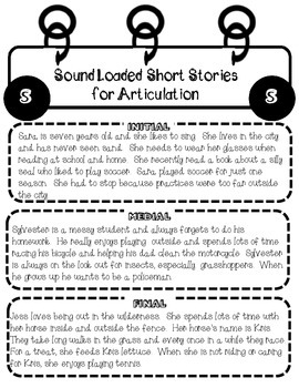 Sound Loaded Short Stories for Articulation f~v~sh~ch~th~j~s~s blends