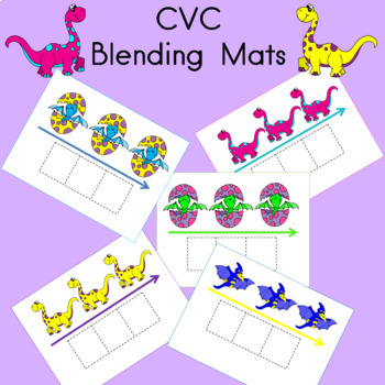 Blending Word  Mats CVC Dinosaur Theme