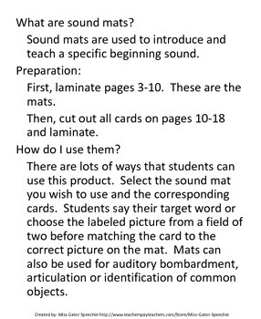 Sound Mats for ending sounds (b, p, m, d, t, n, k and g)