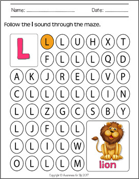 Speech Sounds Maze Worksheets: Sound Level Practice