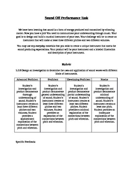 Sound Performance Task - Create an Instrument