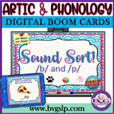 Sound Sort B & P BOOM CARDS Auditory Discrimination Articulation - Teletherapy