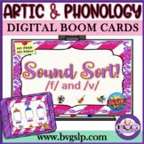 Sound Sort F & V BOOM CARDS Auditory Discrimination Articulation - Teletherapy