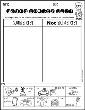 Sound Energy Sort, Forms of Energy Worksheet {K, 1, 2} | TpT