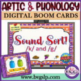 Distance Learning BOOM CARDS Speech Therapy Sound Sort K & G - Teletherapy