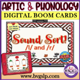BOOM CARDS Speech Therapy Sound Sort L & R Articulation - Teletherapy