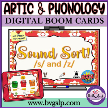 Sound Sort S & Z BOOM CARDS Auditory Discrimination Articulation - Teletherapy