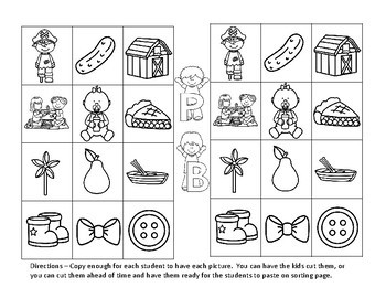 Sound Sorts: Beginning Sounds  Set One: Lip Poppers B&P