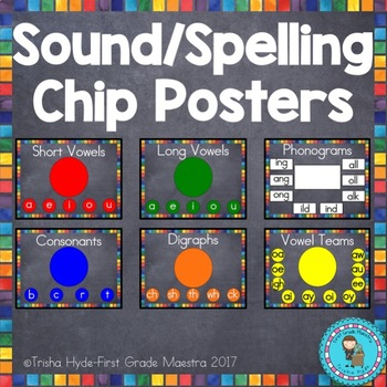 Sound Spelling Chip Posters Chalkboard Theme