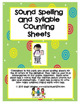 Sound Spelling & Syllable Counting Sheets