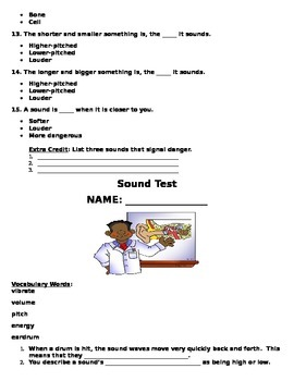 Sound Study Guide and Test for Second Grade Science (Common Core Aligned)