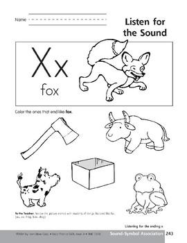 Sound-Symbol Association: Ending x