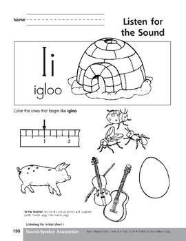Sound-Symbol Association: Initial Short i