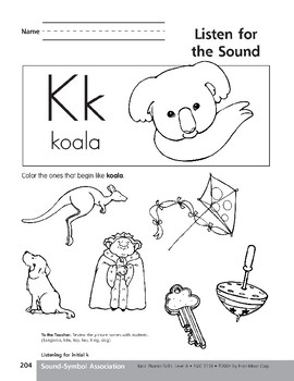 Sound-Symbol Association: Initial k