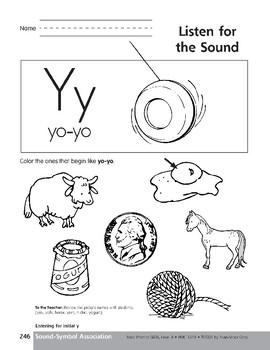 Sound-Symbol Association: Initial y
