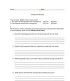 Sound Tuning Fork activity worksheet