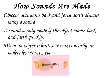 Sound Unit: Powerpoint, assessment, chart 4th grade science
