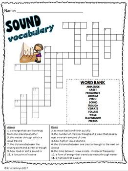 Sound Vocabulary Crossword Puzzle Activity